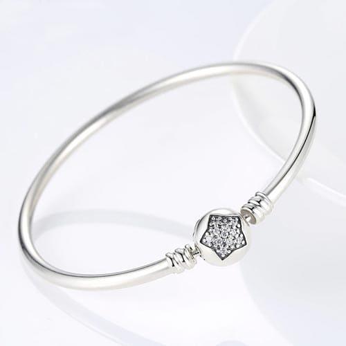 Bracelet charm jonc étoile en Argent Massif 925