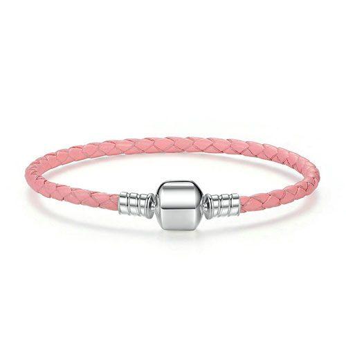 Bracelet charm en cuir tressé rose et Argent Massif 925 ce bracelet est compatible charms Pandora, charms Soufeel, Happy Charms, Troll Beads