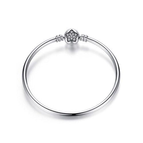 Bracelet jonc étoile en Argent Massif 925 Style Pandora • Avec un fermoir sphérique c'est le charm remarquable pour briller de jour comme de nuit