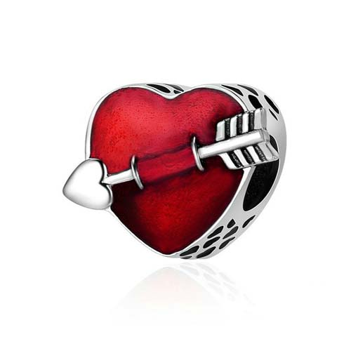 Charm coeur de Cupidon en Argent Massif 925