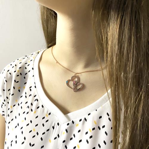 Collier coeur en argent personnalisé avec inscription et pierre de naissance