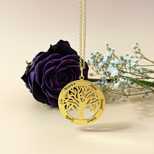 Bijou personnalisé à offrir collier arbre de vie à graver avec 1 à six prénoms de votre choix