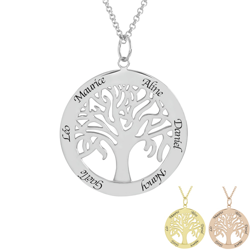 Bijou personnalisable Collier arbre de vie en argent à personnalisé cadeau gravé