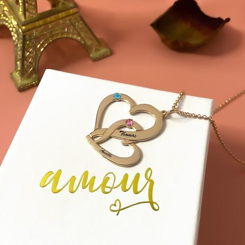 Collier coeur personnalisé avec prénom cadeau personnalisable pour les mamans