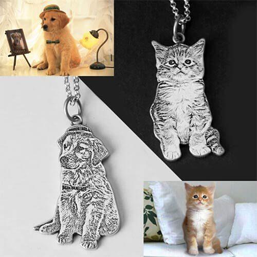 Collier gravure photo chien et chat
