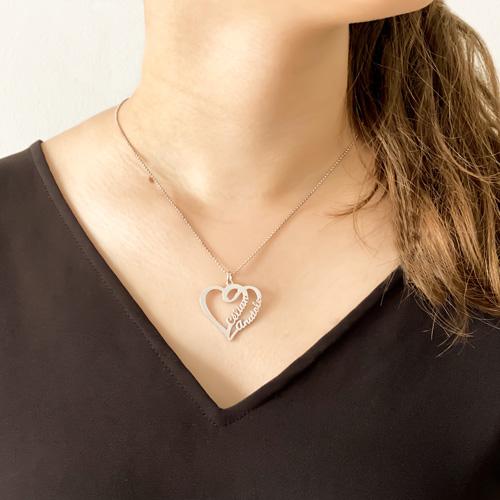 Collier pendentif 2 coeur gravés avec prénom personnalisables