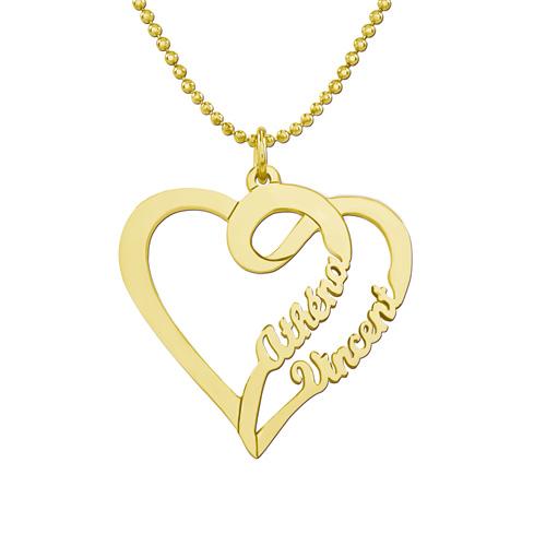 Collier personnalisé avec 2 coeurs entrelacés vous pouvez y ajouter 2 prénoms ou 2 inscriptions de votre choix collier en plaqué Or 18 carats