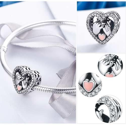 bijou charm coeur en argent Massif joli charmtrès tendance joliment décoré vous permettra d'affirmer votre look au gré de votre imagination