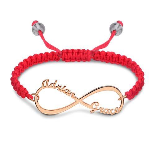 Magnifique bracelet d'amitié Infini à personnaliser en plaqué Or rose 18k • Disponible aussi en plaqué Or ou en Argent Massif 925