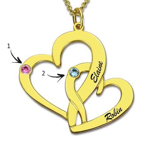Collier 2 coeurs croisés à personnaliser en plaqué Or 18 carats LA boutique MAB personnalisation de bijoux tendance