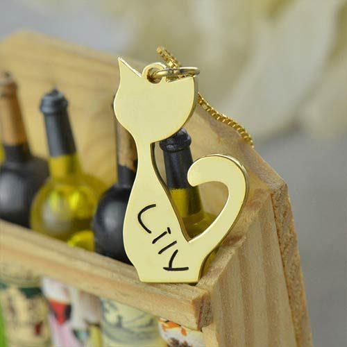 Collier chat personnalisé plaqué Or 18k un joli collier chat avec beaucoup d'originalité à offrir aux amoureux des chats