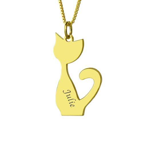 Collier prénom chat à personnaliser - By La boutique MAB - Argent - Plaqué or
