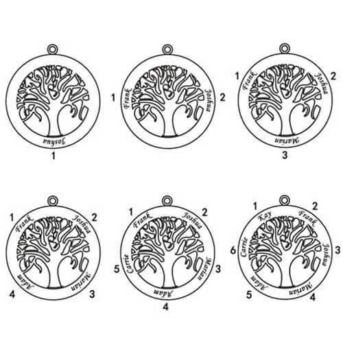 Collier personnalisé arbre de famille 6 prénoms