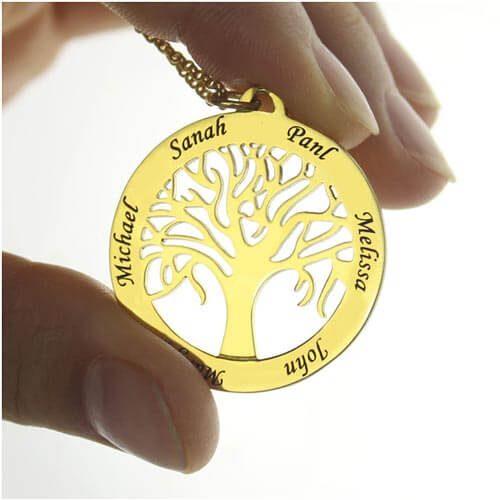 Collier personnalisé arbre de famille plaqué or 18 carats disponible en Argent Massif 925