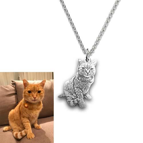 Collier photo votre chat à personnaliser en Argent Massif 925
