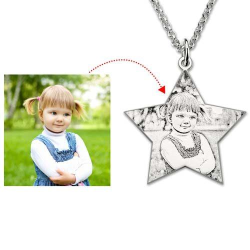 Un charmant collier photo Étoile à personnaliser en Argent Massif 925 garantissant une qualité optimale. livraison gratuite !