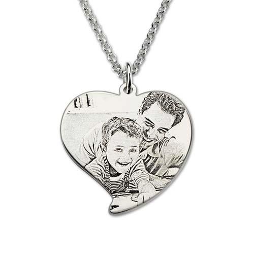 Collier coeur photo personnalisée collier en Argent Massif 925