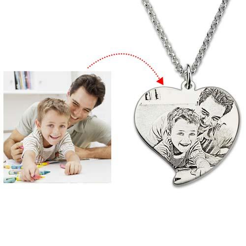 Collier photo Love en Argent Massif 925 personnalisable avec photo et message à graver • Jusqu'à 50 % de réduction ! Livraison gratuite !