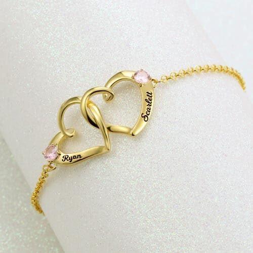 Bracelet personnalisé 2 coeurs avec 2 pierres de naissances personnalisables