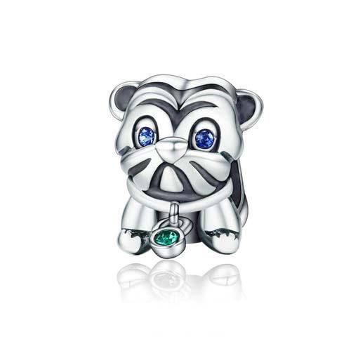 Charm petit chiot carlin en Argent Massif : Vous êtes unique, créez un bijou qui vous ressembleen ajoutant se joli molosse a votre bracelet