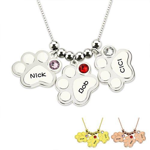 Collier empreintes à personnaliser un joli pendentif à graver avec le prénom de votre chat ou chien