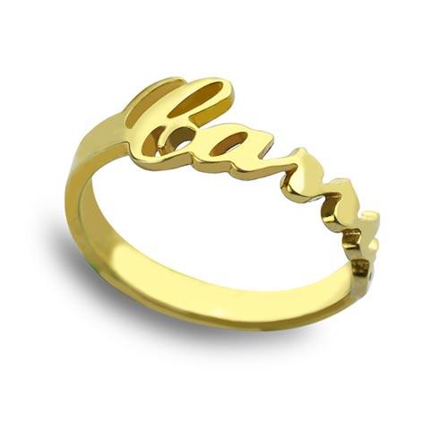 Bague prénom Carrie à personnaliser en plaqué Or, un cadeau sur mesure à offrir à la femme de votre vie. Aussi disponible en argent massif 925