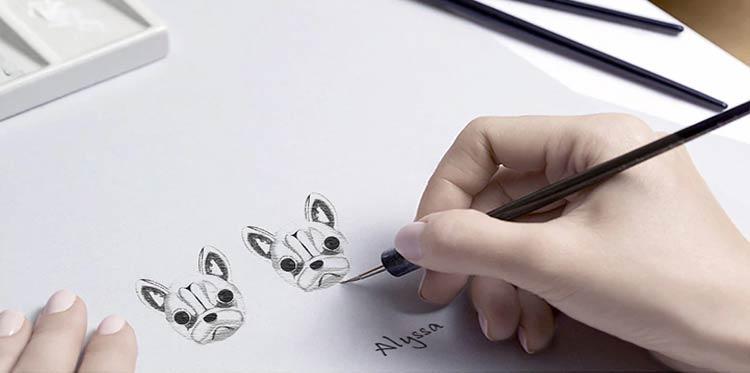 boucles d'oreilles bouledogue en Argent