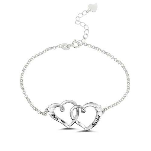 Bracelet personnalisé 2 coeurs en argent Massif 925, disponible aussi en plaqué Or, ou plaqué Or rose