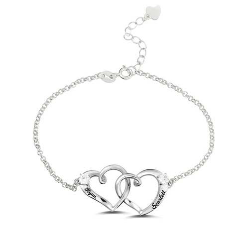 Bracelet 2 coeurs gravé prénom en argent Massif 925, disponible aussi en plaqué Or, ou plaqué Or rose