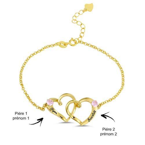 Bracelet 2 coeurs enlacés à personnaliser