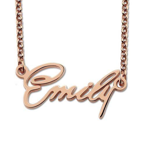 Collier prénom tendance à personnaliser en plaqué Or rose 18 carats Bijou prénom La boutique MAB