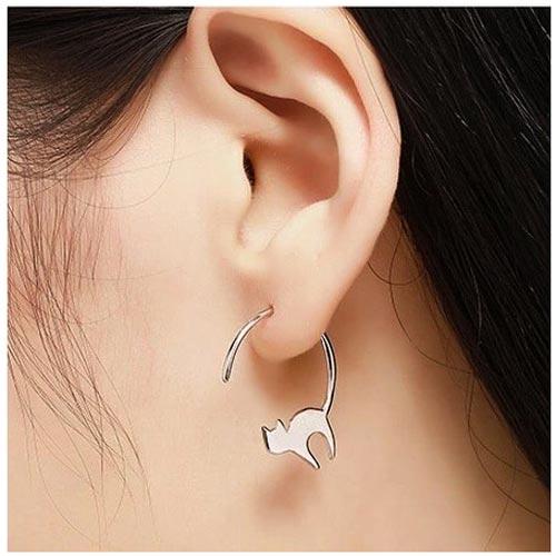 Boucle d'oreilles fantaisie chat