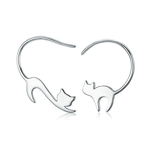 Boucles d'oreilles chat tendance en Argent Massif 925