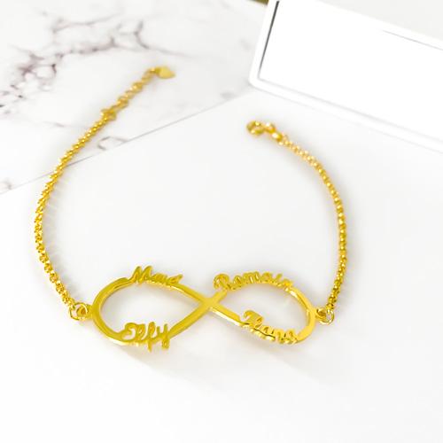 Bracelet prénom infini en or 18 carats