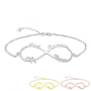 Bracelet infini 4 prénoms à personnaliser