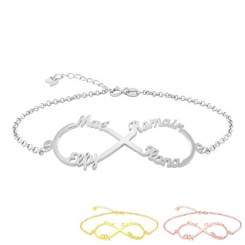 Bracelet infini 4 prénoms à personnalise, à la mode et très actuel il trouvera à coup sûr sa place dans votre boîte à bijoux