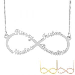Chaine du collier infini 4 prénoms – sans pendentif