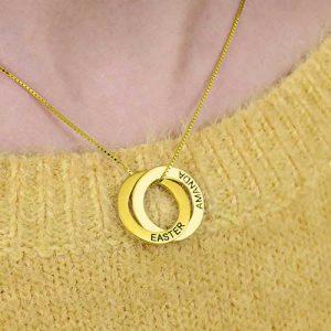 Collier russe 2 anneaux en plaqué-or 18k
