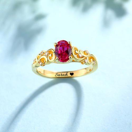 Bague de mariage pierre de naissance à personnaliser avec le prénom de votre choix