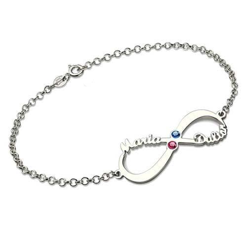 Bracelet infini 2 prénoms à personnaliser en argent Massif 925, ne cherchez plus vous avez trouvé le cadeau idéal pour vous faire plaisir ou pour offrir en toute occasion