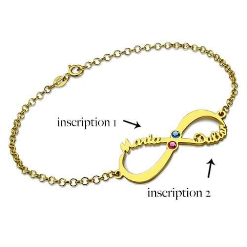 Bracelet infini 2 prénoms à personnaliser