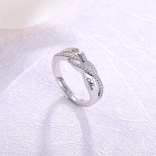 Bague de fiançailles gravée demande en mariage bijou personnalisable avec prénom