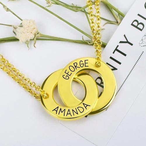 Collier deux anneaux à graver, gardez près de votre coeur les personnes que vous chérissez, avec cecollier symbolique à personnaliser