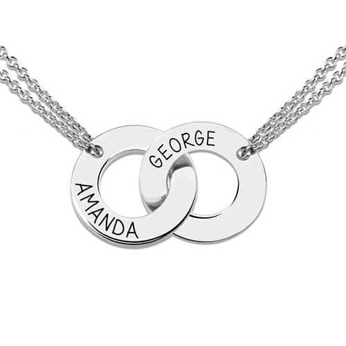 Collier deux anneaux à personnaliser en argent massif, plaqué or, plaqué or rose un collier symbolique élégant et facile à porter, il saura sublimer toutes vos tenues