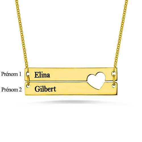 Collier couple en plaqué Or rose à personnaliser avec votre prénom ou le prénom de votre amour. Aussi disponible en argent, ou plaqué Or rose