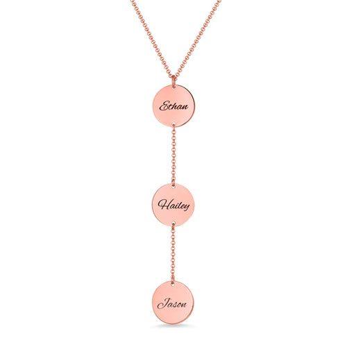 Collier 3 mèdailles personnalisées en plaqué Or rose