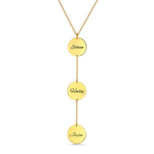 Collier 3 médailles personnalisées avec prénom en plaqué Or 18 carats disponible aussi en plaqué Or rose 18 carats et en argent Massif 925