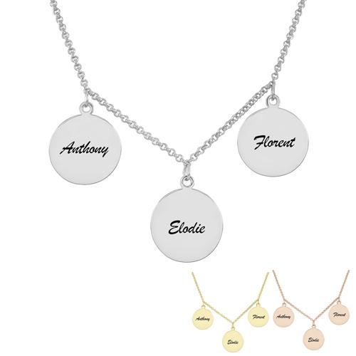Collier avec 3 médailles personnalisés en argent bijou personnalisé à offrir pour un anniversaire la fête des mères ou la Saint Valentin