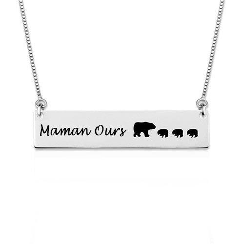 Collier Maman Ours personnalisé en Argent Massif 925, offrez ce sublime bijou à votre maman pour son anniversaire ou pour la fête des mères