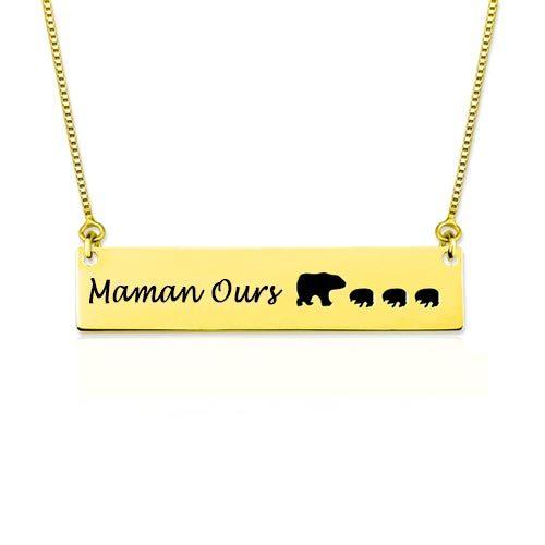 Collier Mama Bear personnalisé plaqué Or 18 carats, offrez ce joli collier à votre maman Ours préféré à l'occasion des fêtes